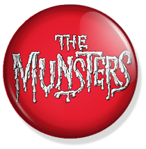 chapa de 25mm, The Munsters, red Logo button