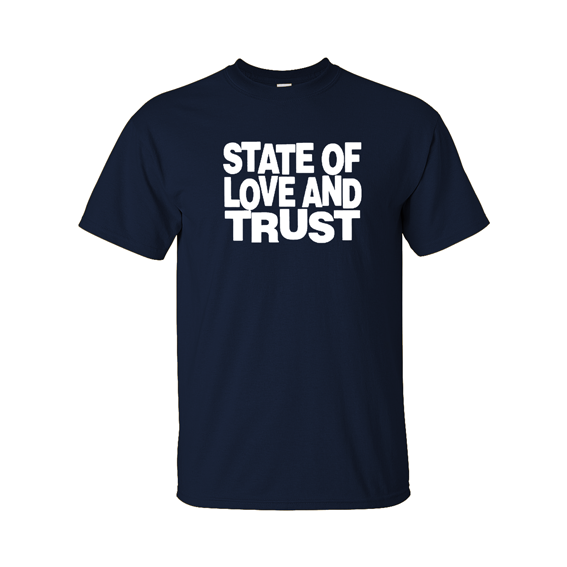 state and love and trust t-shirt navy