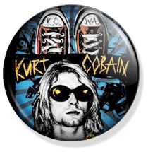 nirvana, kurt cobain button
