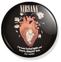 nirvana, heart shaped box button